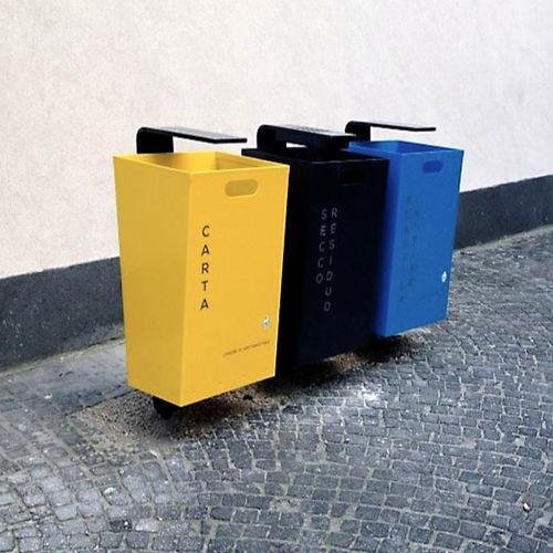 Park-Abfallbehälter / verzinkter Stahl / Stahlblech / mit integriertem Aschenbecher