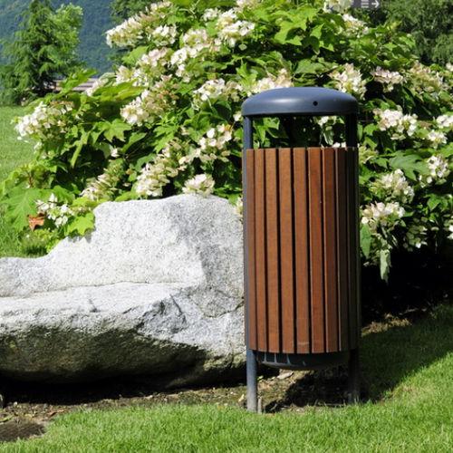 Park-Abfallbehälter / Stahl / Holz / modern