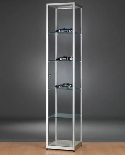 moderne Vitrine / Glas / Holz / anodisiertes Aluminium