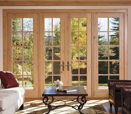 einflügelige Fenstertür / Aluminium / Holz / Doppelverglasung