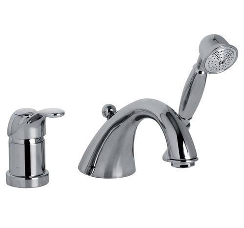 Einhebelmischer für Badewanne / für Theken / verchromtes Metall / Messing