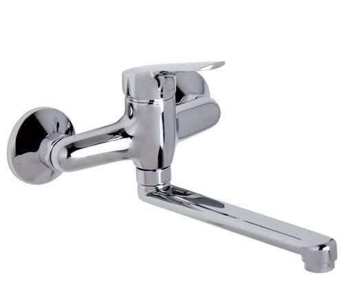 Einhebelmischer / verchromtes Metall / für Küchen / 2-Loch / Schwenkauslauf