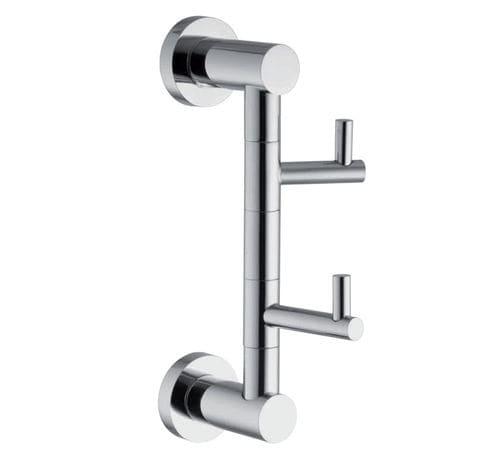 moderner Garderobenhaken / verchromtes Metall / doppelt / für Badezimmer
