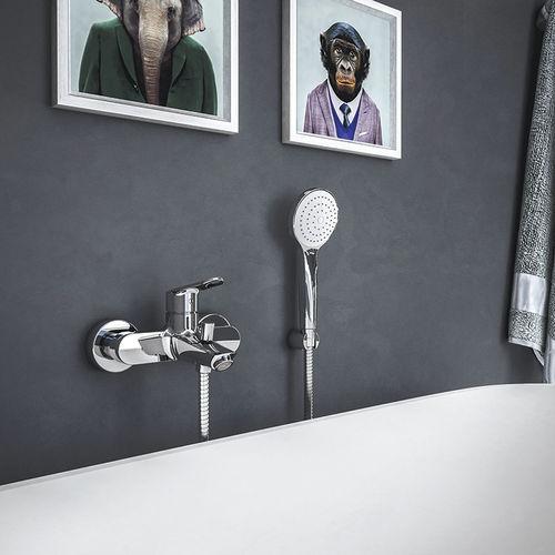 Einhebelmischer für Badewanne / wandmontiert / verchromtes Metall / Messing