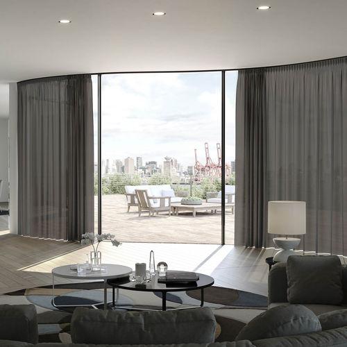 Vorhangschiene für Deckenmontage / zur Wandbefestigung / mit manueller Bedienung / für drapierte Vorhänge