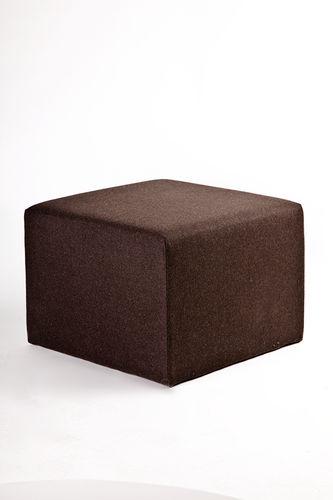 moderner Sitzpuff / Stoff / Leder / Holz