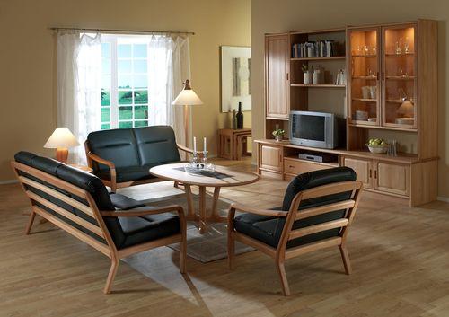 klassisches Sofa / Leder / Holz / 2 Plätze
