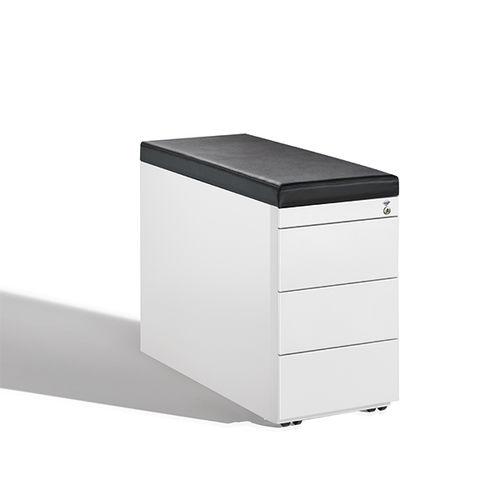 Stahl-Büroschubladenschrank / Holz / Glas / Leder