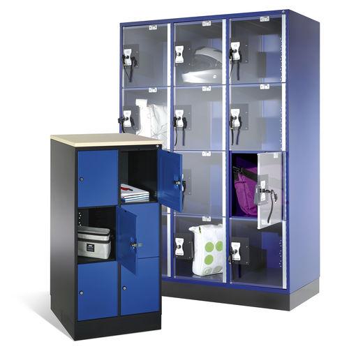 Stahl-Garderobenschrank / für öffentliche Einrichtungen / gesichert