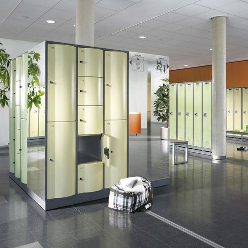 Stahl-Garderobenschrank / für öffentliche Einrichtungen / mit Vandalismusschutz