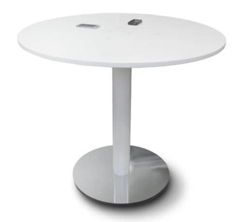 moderner Besprechungstisch / Metall / aus Corian® / intelligent