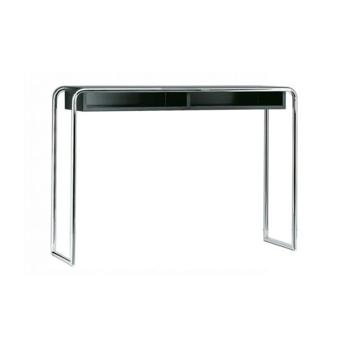 moderner Konsolentisch / Metall / lackiertes Holz / rechteckig