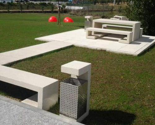 Park-Abfallbehälter / Edelstahl / COR-TEN®-Stahl / Beton