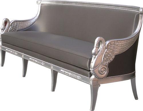 Empire-Stil-Sofa / Leder / 2 Plätze / anthrazitfarben