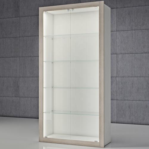 moderne Vitrine / Glas / Holz / beleuchtet