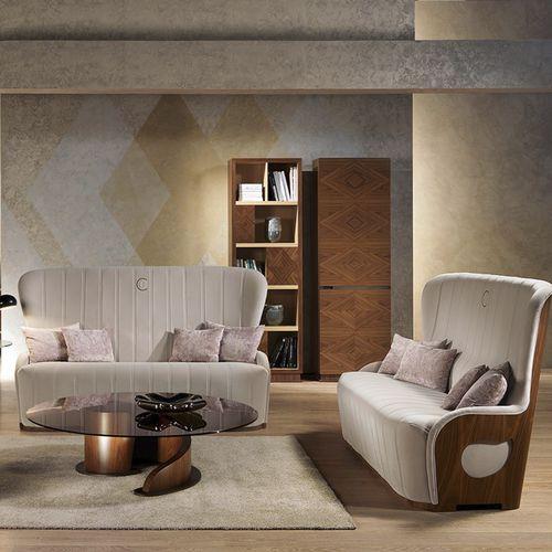 modernes Sofa / Samt / Leder / Holz