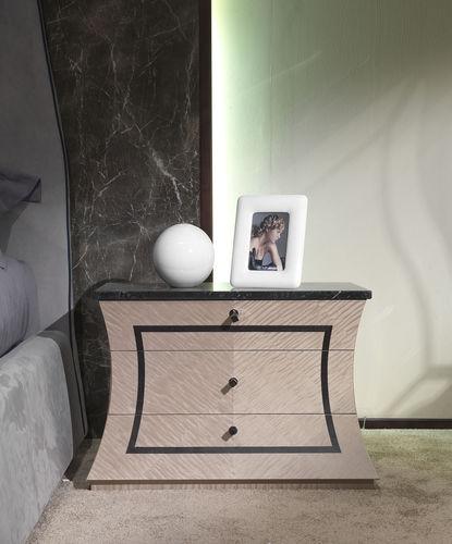 moderner Nachttisch / Holz / Marmor / rechteckig