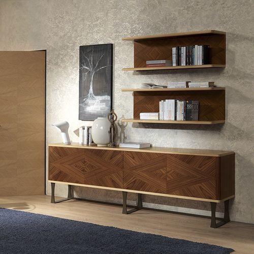 hochbeiniges Sideboard / modern / aus Nussbaum / Metall