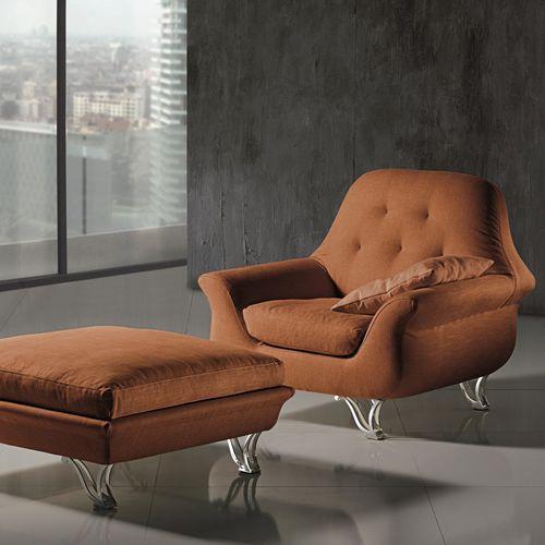 klassischer Sessel / Stoff / mit Fußstütze