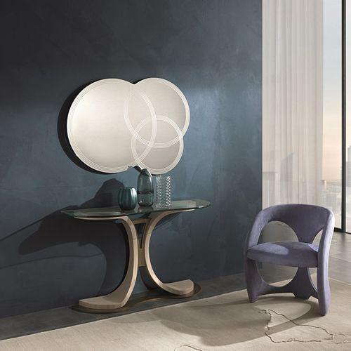 moderner Konsolentisch / Holz / Glas / oval