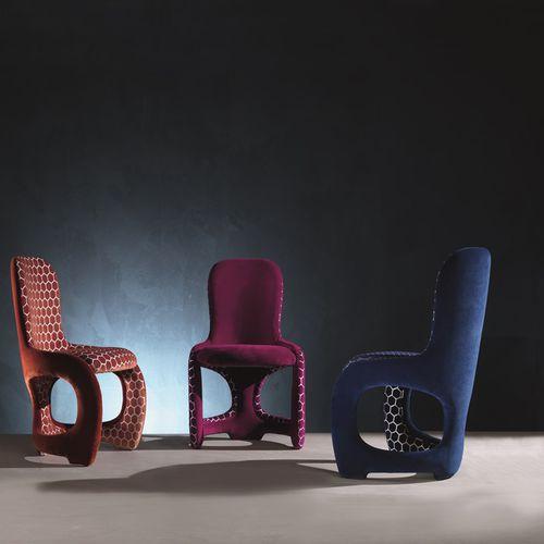 moderner Stuhl / Polster / Leder / rot