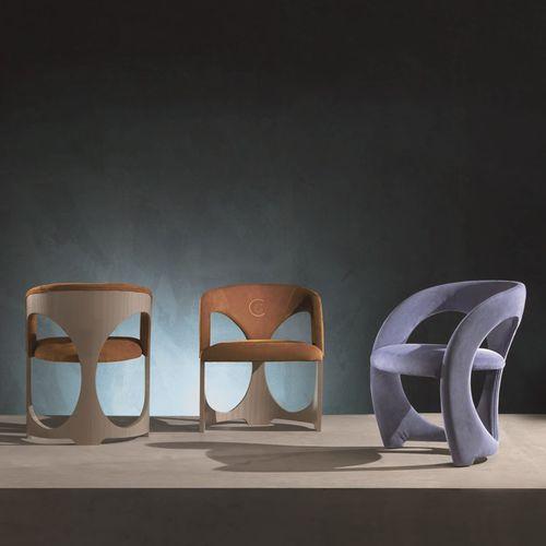 moderner Stuhl / Polster / mit Armlehnen / Holz