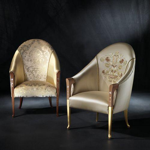 klassischer Sessel / Stoff / Leder / aus Kirschbaum