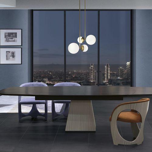 moderner Tisch / Holz / Marmor / mit Fußgestell aus Holz