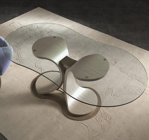 moderner Tisch / Glas / mit Fußgestell aus Furnierholz / oval