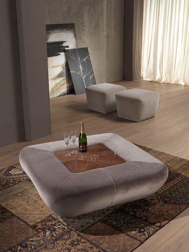moderner Sitzpuff / Stoff / Holz / mit Stauraum