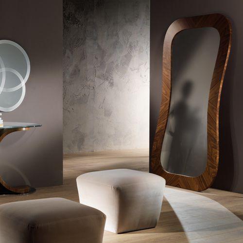 Standspiegel / modern / rechteckig / aus Nussbaum