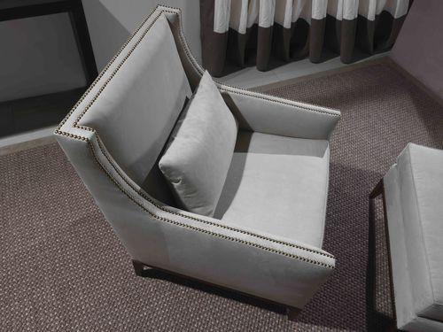 moderner Sessel / Leder / grau