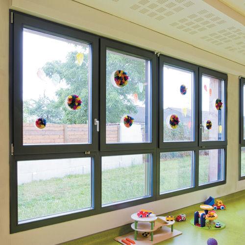 Flügelfenster / feststehend / Balg / Holz