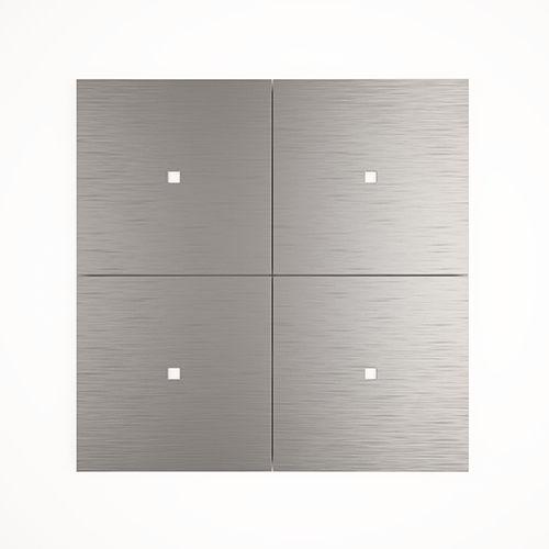 Druckschalter / Einbau / 4-Fach / Aluminium