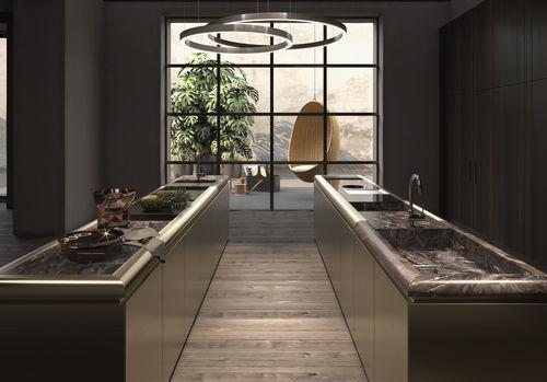 moderne Küche / Marmor / Holzfurnier / Kochinsel