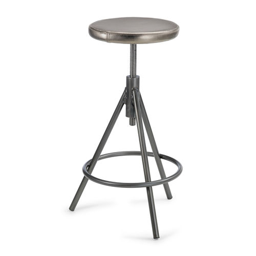 moderner Barhocker / Leder / aus lackiertem Stahl / Natureiche