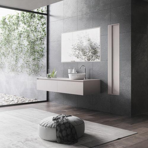 wandmontierter Waschtisch-Unterschrank / Holz / modern / Schubladen
