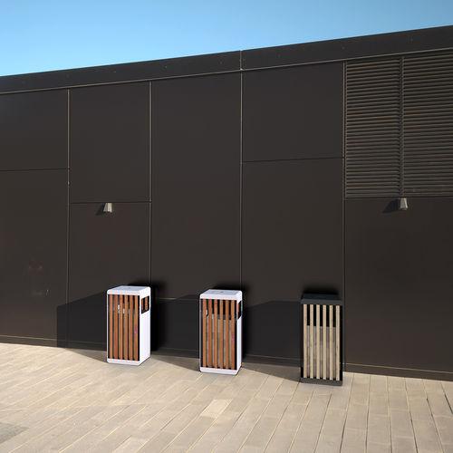 Park-Abfallbehälter / Stahl / Holz / mit integriertem Aschenbecher