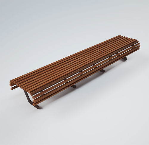 Parkbank / modern / Holz / gestrichenes Metall