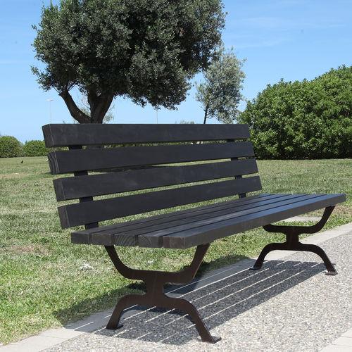 Parkbank / originelles Design / Holz / gestrichenes Metall