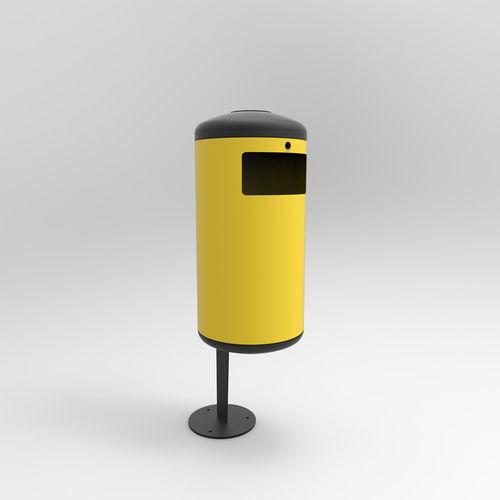 Park-Abfallbehälter / bodenstehend / Stahl / modern