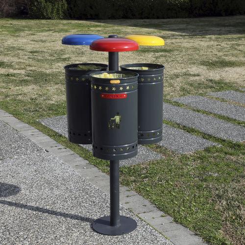 Park-Abfallbehälter / bodenstehend / Stahl / verzinkter Stahl