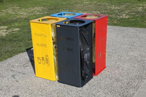 Park-Abfallbehälter / Stahl / System / mit integriertem Aschenbecher