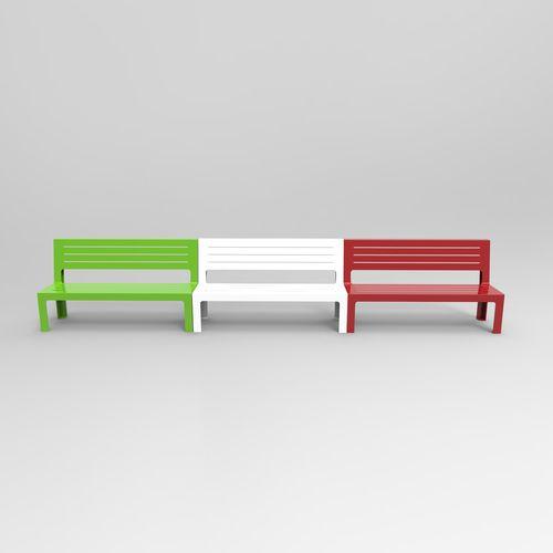 Parkbank / modern / gestrichenes Metall / mit Rückenlehne