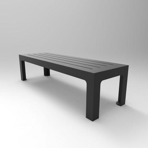 Parkbank / modern / gestrichenes Metall / Objektmöbel