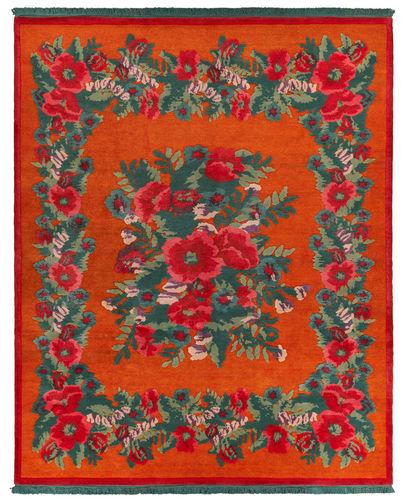 moderner Teppich / Blumenmotive / Wolle / Seide