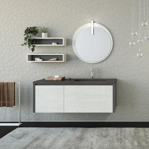 hängender Waschtisch-Unterschrank / aus Eiche / Keramik / modern