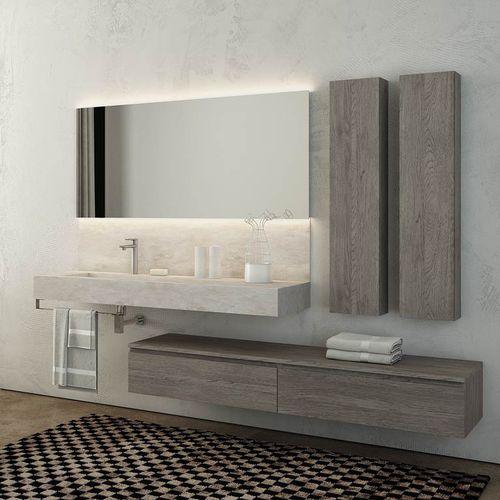Wand-Waschbecken / rechteckig / Keramik / Schiefer