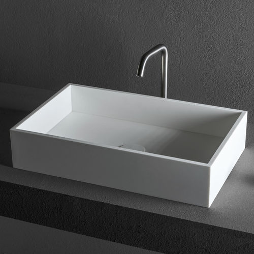 Aufsatzwaschbecken / rechteckig / Stahl / aus Corian®