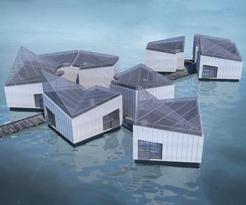 schwimmendes Gebäude / Glas / für Hotels / modern